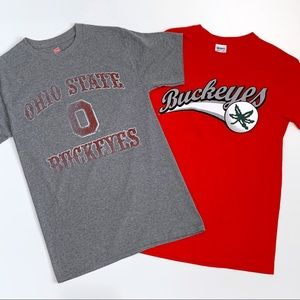 Ohio State OSU T Shirt Bundle 2 Red and Gray Small